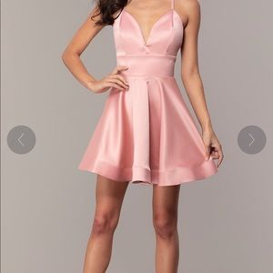 Short Pink Satin Prom Dress